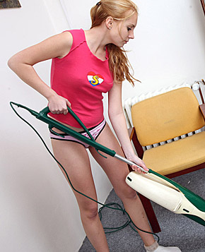A very horny cleaning teenager rubbing her slippery snatch