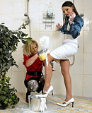 Two daring hotties playing with soap in a public toilet