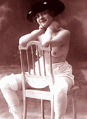 Vintage chicks in their underwear in the thirties posing