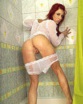 Teenage redhead stroking her soaked snatch in the shower