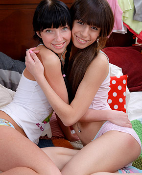 Two horny lesbian girls love experimenting with big sex toys