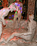Very hot teenage girls bathing in the nude in wet dirty mud