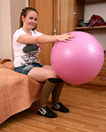 Chick playing witb big pink ball and her massive fun bags