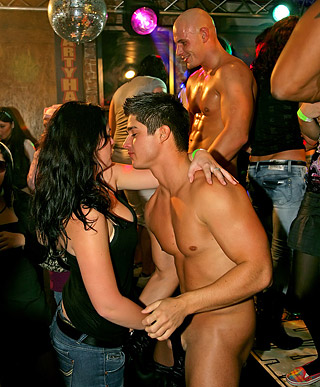Sweeties fucked hard at hot screwing party at a big disco