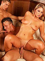 MMF threesome hardcore fuck-n-suck on top of a pooltable