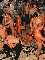 Massive group of gay guys fucking and sucking in a danceclub