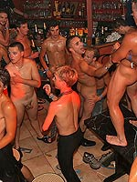 Plethora of gay men sucking cock and fucking at a party