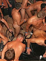 Hardcore gay groupsex fucking and sucking in a nightclub