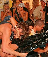 Massive messy and slippery non nude group sex suckathon