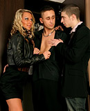 Two adorable gay chaps shagging a very horny chick hard