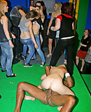Hot willing chicks love srewing a horny clown at a club