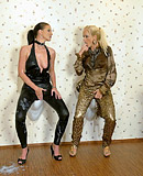 Horny blonde lesbian slut and her friend covered in slime