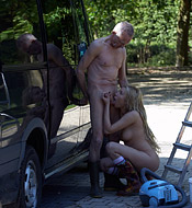 Sexy car cleaning hottie fucks a very horny senior outdoors