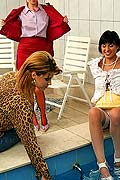 Three wet lesbians playing with each other in the deep end