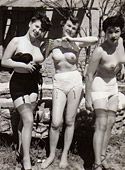 Hot sexy naked vintage beauties outdoors in the fifties