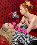 Two hot lesbians chicks love filming their vibrator sex