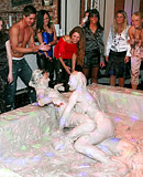 Horny dirty teenage party girls enjoy wrestling publicly