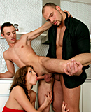 Two horny pretty gay guys banging a willing naked hottie