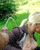 Kinky hot pissing babes fucked by a horny guy hard outdoors