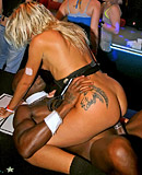 Horny drunk dancing sweeties undressing at a local club