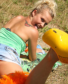 Cute dutch teenager strokes her young angelic body outside