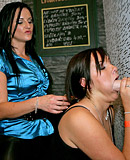 Large gloryhole beefstick sucked by hot dancing beauties