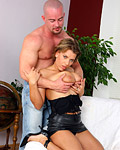 Busty babe with short hair nailed hard by horny bald guy