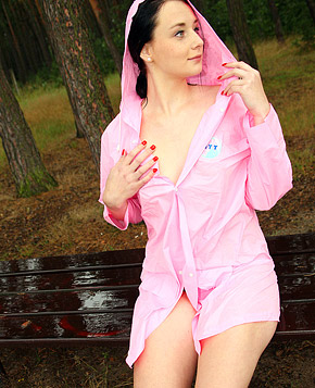 Very cute hiking teenage honey pleasures herself outdoors