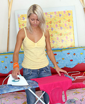 Cute ironing teenage babe drilled by a large solid dick