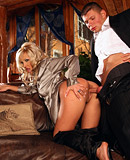 A hot clothed couple loves shagging in their living room