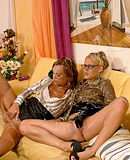 Lesbian sweethearts love playing with a fake cumming cock