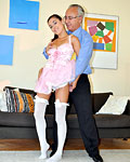 Horny old senior boning a stockings beauty in his own house