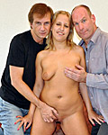 Two very old seniors shagging a much younger blond babe