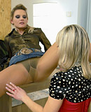 Two cute clothed hotties love banging at the office desk