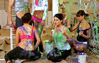Very lucky paint fellow banging a group of dirty chicks