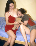 Two teens licking and having double penetration with toys