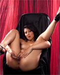 Arabic girl with tiny tits toying pussy & ass in black & red studio...