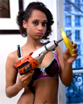 Exotic teen Candy Kunt playing with banana & ass-fucked by Rico! (squirt)