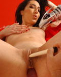 Lovely Cheliane with big dildos and dilatated