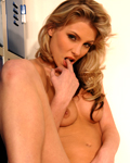 Perfect blonde Gina stripping & showing her pussy in the cloakroom...