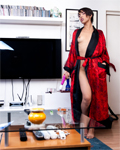 Jasmine Arabia (skinny oriental beauty) toying with cucumber!
