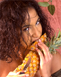 Adorable exotic teen spreading for the first time with fruits!