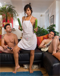 Lou, Horny brunette playing with 2 cucumbers and 2 cocks!