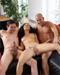 Penelope cute brunette sucking 2 boys at the same time!