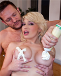 Greedy Sabrina Sweet (busty blonde babe) fucked by a big cock...