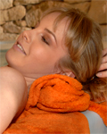 Sally M. having sexual fun with her girlfriend in the spa...
