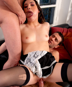 Cute maid, Tiffany Doll sucking 2 cocks and fucked!