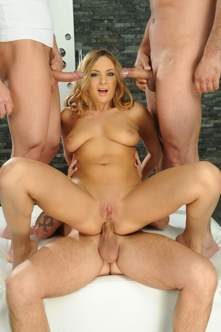 Cock-hungry blonde babe gets three guys to fuck