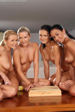 Four hot honeys stretch pink pussies with toys and fists
