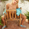 Stunning blonde teen seductively strips and rubs on terrace